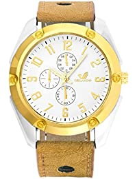 Orlando® Branded Chronograph Look With White & Gold Dial Beige Leather Belt Watches For Men - W1266CGSW