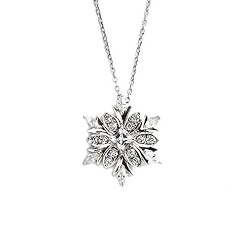 New 925 Sterling Silver Snowflake 45cm Pendant With Free Ball Studs Earrings