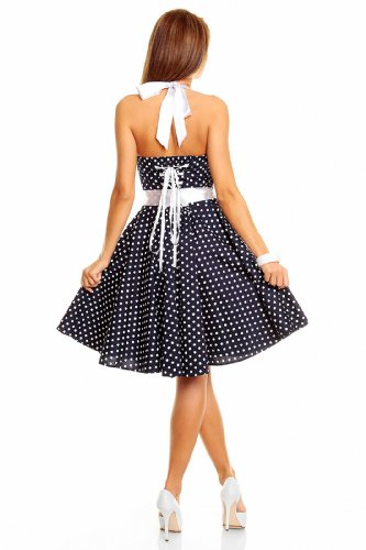 Neckholder Rockabilly Kleid 50er Jahre mit Pünktchen BLAU - 2