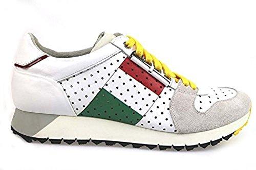 scarpe uomo BARRACUDA sneakers bianco pelle camoscio AP596 (44 EU)