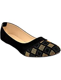Altek Designer Slip-on Black & Brown Ballerina for Women (Foot_1398_Camel_p150)