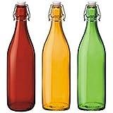 CVG Round Refrigerator Safe Air Tight Flip Cap Color/Transparent Glass Water Bottle(Set Of 3) Random Color-1000ml