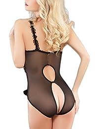 Art One Donna vestito da notte,Cavallo aperto floreale maglia capezzoli esotico del bikini di fenditura Set