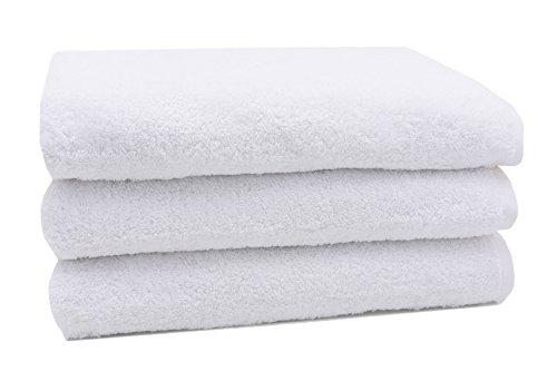 Zollner 3er Set Badetuch Duschtuch aus Baumwolle, Weiß (Weitere verfügbar), Größe ca. 70x140 cm, Serie Star-Elba (Hotel Handtuch)
