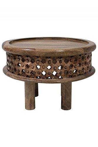 Wohnzimmertisch Couchtisch aus Holz massiv Yara groß | Vintage Tisch aus Sheesham Massivholz für Ihre Wohnzimmer | Niedriger Moderner Design Sofatisch