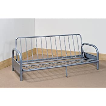 SILVER METAL FUTON FRAME   3 SEATER SOFA CONVERTS TO FULL SIZE DOUBLE BED