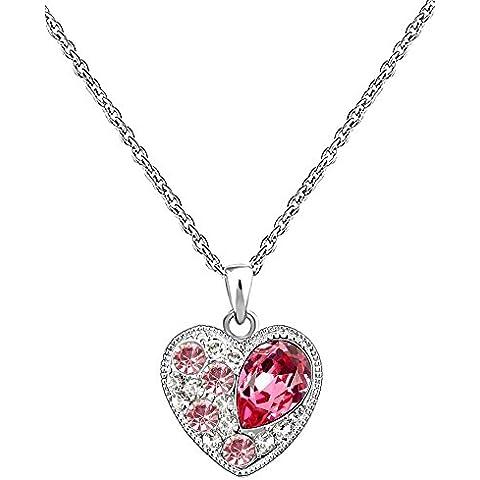 CN3395 - Collana oro placcato 18k con pendente a forma di cuore con elementi di cristallo Swarovski, lunghezza 46 cm