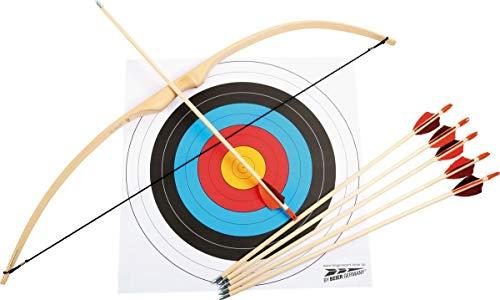 Deporte arco Juego de ratán de palmera, Diana (Madera, incluye accesorios (revestimiento de 6flechas, Arco, tendón y disco), deportes dispositivo No es un juguete, para niños a partir de 6años