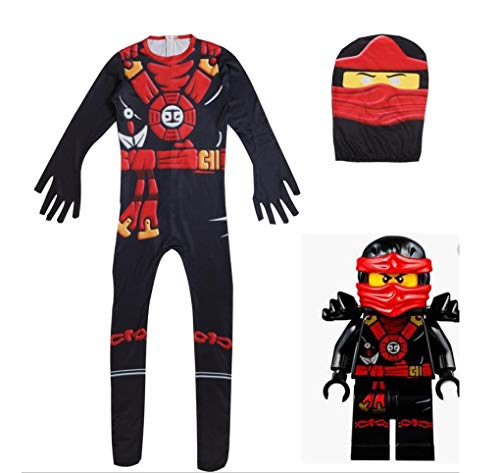ZYFDFZ Jungen Kinder einteiliges Cosplay Kostüm Performance Kostüm für den Ninja Film Gamer Halloween Kleidung Overalls Cosplay Requisiten (Farbe : Red and black, größe : 100 ()