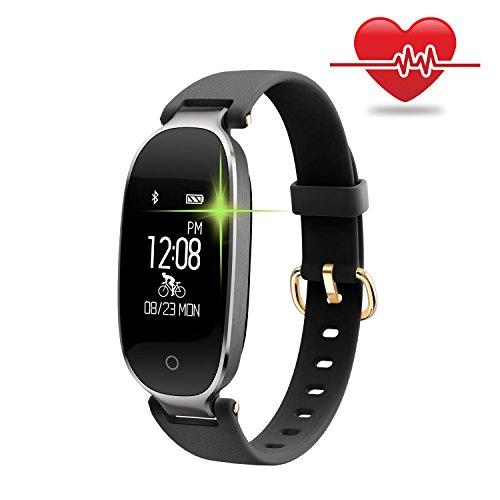 Fitness Armband für Frauen Schrittzähler Fitness Tracking-funktion Smartwatch Pulsmesser Fitnessuhr Wasserdichte mit Schutzklasse IP67 Bluetooth Aktivitätsüberwachung Kalorienzähler Herzfrequenzmess