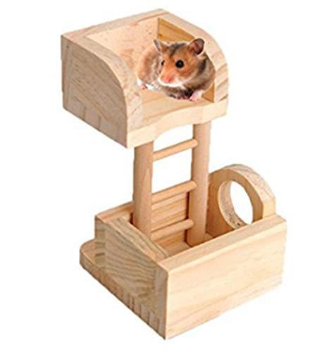 Vektenxi Premium-Qualität Holz Hamster Spielzeug Holz Hamster Observatorium Spielen Klettern Haustier Spielzeug Holz Hamster Spielzeug und Zubehör für Hamster Kleintiere Spielzeug (Home-observatorium)