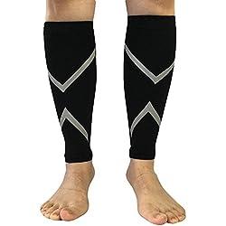 Pawaca Calcetines de compresión para pantorrilla y pantorrilla para hombre y mujer, para correr, ciclismo, viajes, piernas (1 par, negro), Large