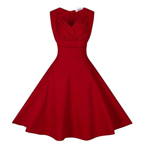 Dissa M116918D Robe de bal Vintage pin-up 50's Rockabilly robe de soirée cocktail,S-XXXXL Rouge