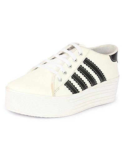Zapatoz Womens Fabric White Color Casual Shoe