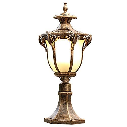 Europäischer Haushalts-Pfosten-Licht-Garten-Garten-Landhaus-Villa-Gang-Tor-Wandleuchte-Rasen-1-light Außensäule Laterne wasserdichtes IP55 traditionelles Dienstprogramm (Color : Bronze)