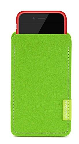 WildTech Sleeve für Apple iPhone 7 / 6S / 6 mit Apple Leder Case / Silikon Case - 17 Farben (made in Germany) - Hellgrau Maigrün