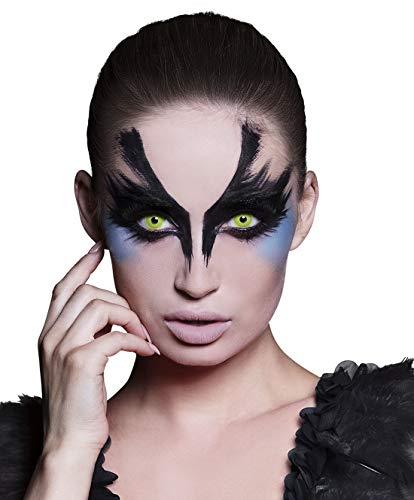 costumebakery - Kostüm Accessoires Zubehör Damen Herren 3-Monats-Kontaktlinsen Krähe, 3 Month Lenses Crow, perfekt für Halloween Karneval und Fasching, Gelb