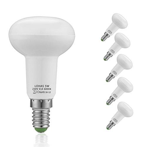 (5er Pack Kaltweiß) LOHAS® 5W E14 LED Lampen, Reflektor Reflektorlampe R50, Ersatzfür40WHalogenlampen, 400 lumen, 6000K, Nicht Dimmbar, 120°Strahlwinkel, LEDLampe, LED Birnen, LED Leuchtmittel -