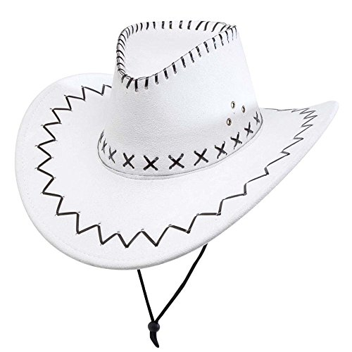 WIDMANN 2897W - Cappello da Cowboy, Scamosciato con Cuciture, Bianco, Taglia Unica Adulto