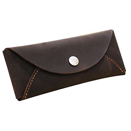 Xytmy vintage astuccio in pelle holder handmade portapenne con tasti grandi per studenti e artisti (marrone)