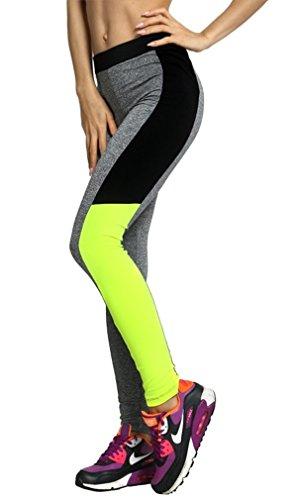 Zeta Ville - Elastique Mince Sport Legging Couleur Néon Fitness - Femme - 964z Style 4
