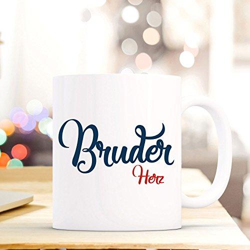 """Tasse Becher mit Spruch """"Bruder Herz"""" Geschenk Kaffeebecher Spruchtasse mit Motto Zitat in blau/rot ts556 ilka parey wandtattoo-welt®"""