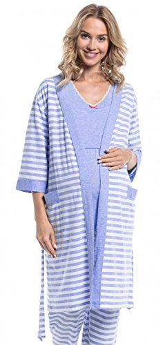 Happy Mama Damen Umstandspyjama Stillfunktion Stillschlafanzug 3/4arm 394p  Morgenmantel Hellblau