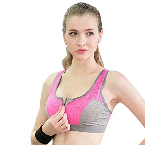 Vertvie Femme Soutien-gorge Sport Zippé Bra Pad Amovible Antichock Sans Armature Racerback Réglable pour Fitness Yoga Jogging Fuchsia