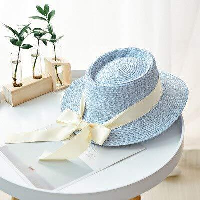 LMXING Sommerhut mit Neue Sommer Sonnenhüte Frauen Mode Mädchen Strohhut Band Bogen Strand Hut Lässige Stroh Flat Top Panama Hut Hellblau