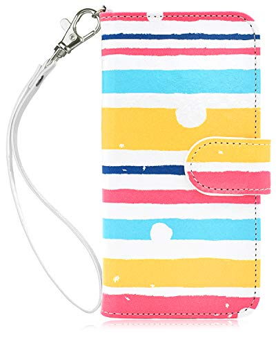 Dailylux iPod Touch 5/6 Hülle,iPod Touch 7 Hülle PU Leder Brieftasche mit Kartenhalter ID Slot und Handschlaufe TPU Innen Schutzhülle für Apple iPod Touch 5/6/7-Colorful Stripe - 5 Handschlaufe Ipod Touch
