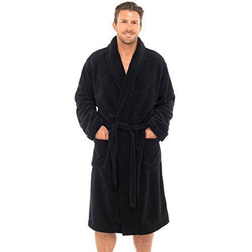 Herren Superweich Hausmantel Fleece Bad Robe Bademantel Herren Warm Winter Style - Schwarz / Uni, Schwarz / Uni, Herren, M/L, M / L (Herren-robe Fleece)