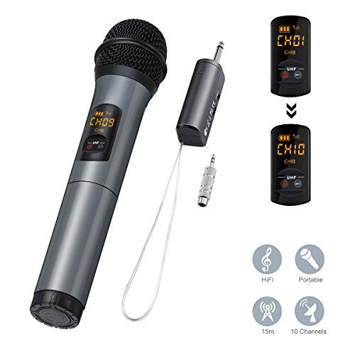 Microphone Bluetooth, ELEGIANT Micro Professionnel sans Fil 2 Micros Intégré FM Portables et Récepteur UHF Amplificateur pour Réunion, KTV, Karaoké, Mariage en Plein Air, Soirée, Bar, Eglise etc.