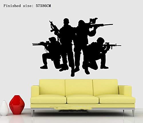 Armee-Soldat-Silhouette-Familien-Ausschnitt-Aufkleber entfernbarer PVC, der Aufkleber schnitzt