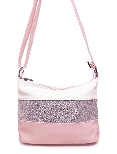 Gallantry -Sac à bandoulière / sac porté épaule / sac paillettes femme / Sac Strass (Blanc/Rose)