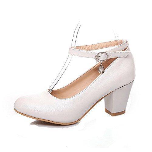 VogueZone009 Damen Spitz Zehe Hoher Absatz Weiches Material Rein Ziehen auf Pumps Schuhe, Weiß, 37