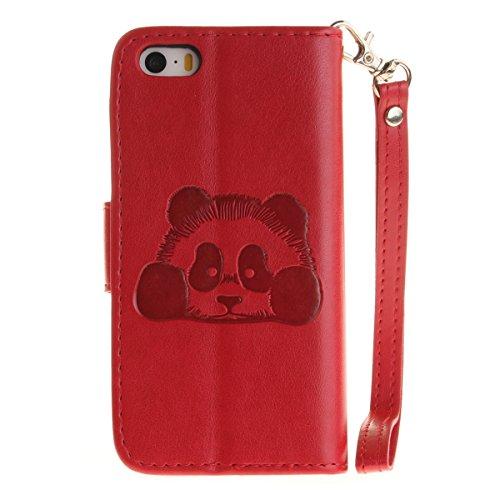 iPhone 5S Hülle,iPhone SE Tasche Case,iPhone 5 Cover - Felfy Bookstyle Ledertasche Luxus Premium Flip Folio PU Leder Taschen Schöne Panda Kreative übersichtliches Design Geprägte Fantasie Fliegen Fall Panda Rote