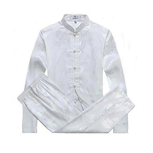 ZooBoo Chinesische Kleidung Tang Anzug - Traditionelle Kostüme Kampfkunst Kung Fu Tai Chi Qigong Lange Ärmel Drachen Muster Performance Uniform für Männer Frauen - Seide Baumwolle (XXL, Weiß) (Seide Chinesisches Kung Fu Kleidung)