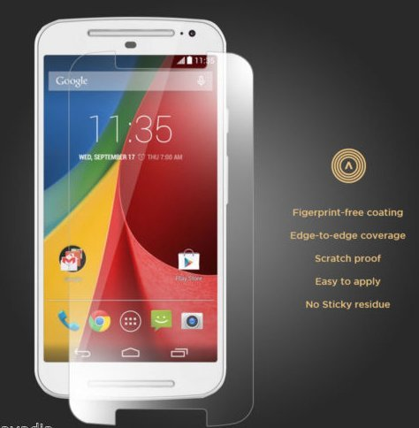 ACCWORLD High Quality Curved Tempered Glass Screen Protector for MOTOROLA MOTO E2 2ND Generation