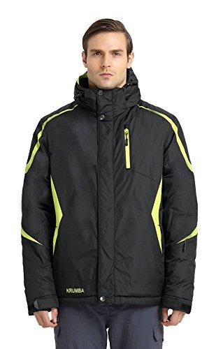 Krumba Herren Sportswear Outdoor Waterproof Windproof Hooded Warm Ski Jacket Black Size L