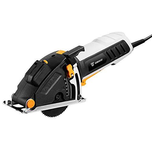 Tauchsägen DEKO 600W Mini Kreissäge Elektrowerkzeuge mit Laser Handkreissäge (4 Klingen, Staubdurchgang, Inbusschlüssel, Hilfsgriff, BMC BOX Elektrische Säge)