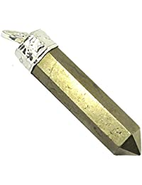 Pyrite Crystal Stone Pencil Pendant For Unisex
