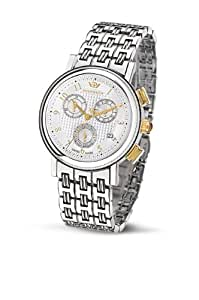 Philip Watch Boudoir Chrnograph with White Dial, Yellow Gold Finishing and Stainless Steel Strap