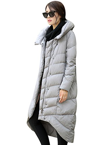 Youlee Femmes Hiver Supporter Collier A-ligne Manteau Gris