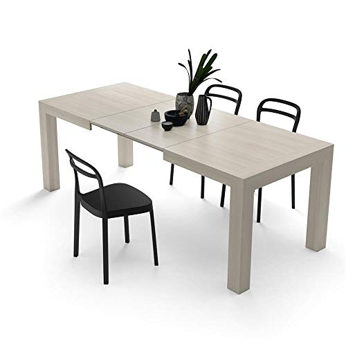 Mobili fiver iacopo, tavolo allungabile fino a 220 centimetri moderno, olmo perla, 140x90x77 cm