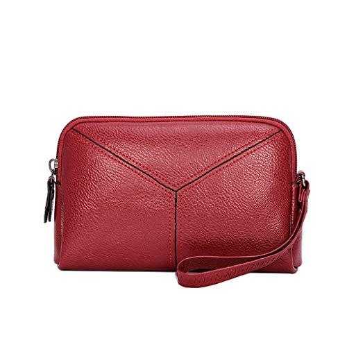 Liqiqi borsetta donna tracolla piccola pelle  elegante polso appeso multifunzione rossa borse a mano donna morbido borse a spalla per cellulare casual shopping borsetta iphone xs estive (rosso)