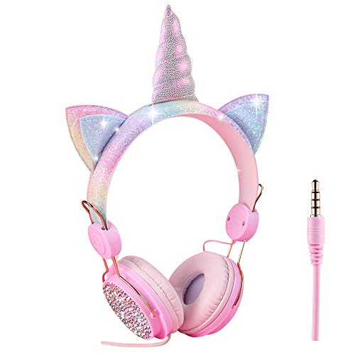 Cuffie per bambini a forma di unicorno, con cavo, 3,5 mm, cavo audio 85 dB, volume limitato, vivavoce, cuffie con...