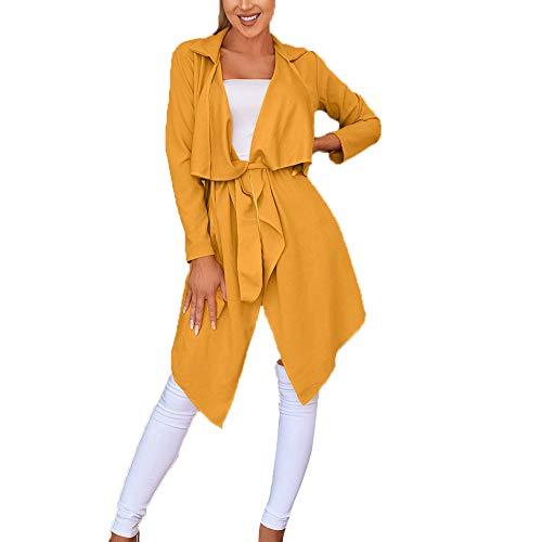 serliy Damen Langarm Lose Kleid Solide unregelmäßiger Saum mit Revers Mantel Graben Split Cardigan lösen Skinny Karikatur Kapuzenmantel Mantel Kleidung langärmlig Knopfleiste schöne Langarmshirts