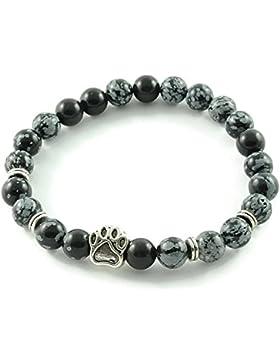 Armband 'DogLove' | Mala Perle Schneeflocken Obsidian glänzend | Naturstein | Edelstein-Armband | Perlenarmband...