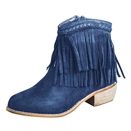 COZOCO Damen Runde Zehen Quaste Dicke Ferse Kurzschaft Stiefel Reißverschluss Römischen Schuhe Westlichen Knöchel Stiefeletten(blau,41