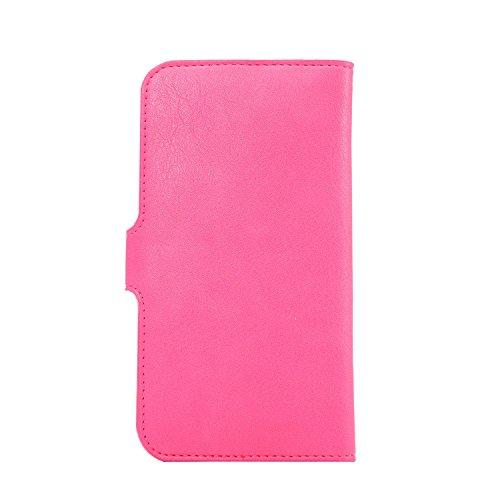 Copertura del telefono in pelle PU multifunzionale Adatto per iPhone 8 Plus, iPhone 7 Plus, iPhone 6 Plus, 6S Plus ,Samsung,Huawei Smartphone (6.0-Pollice Nero) Pink